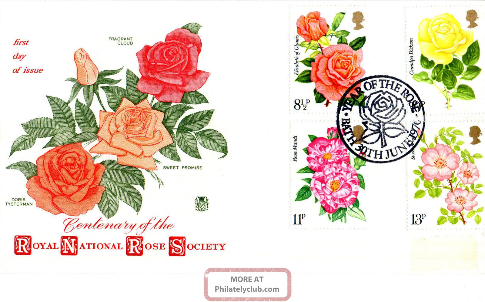 30 June 1976 Roses Stuart First Day Cover Year Of The Rose Bath Shs Topical Stamps photo