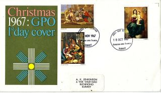 Oct & Nov 1967 Christmas Pair On One Gpo First Day Cover Kingston Upon Thames photo