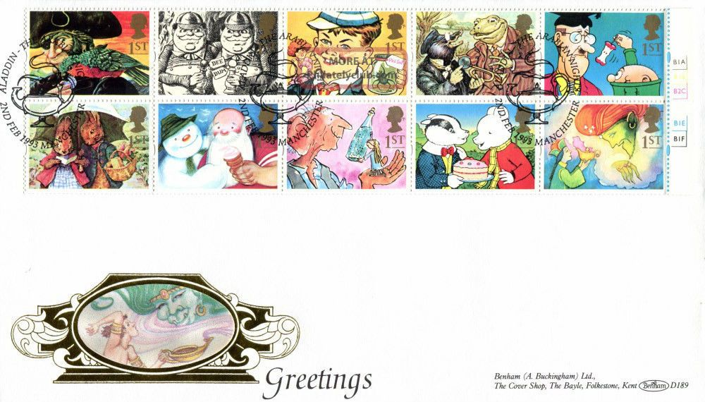 2 February 1993 Greetings Cyl Benham D 189 First Day Cover Arabian Nights Shs Topical Stamps photo