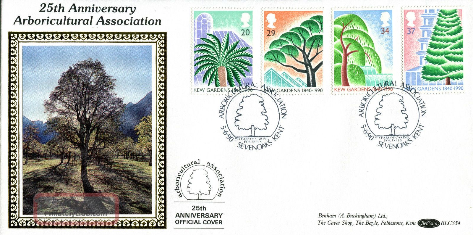 5 June 1990 Kew Gardens Benham Blcs 54 First Day Cover Arborial Association Shs Topical Stamps photo
