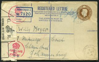Great Britain 1943 Registered Cover To Johannesburg / Customs & Excise Label photo