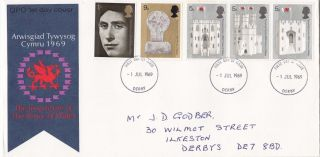 1969 Prince Charles Investiture Fdc Derby Fdi photo