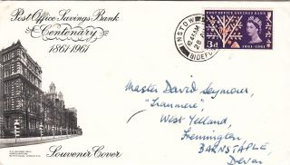 (21903) Gb Fdc Post Office Savings Bank - Instow,  Bideford 28 August 1961 photo