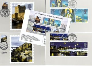 2008 Celebrating Northern Ireland Phq Cards With Related Fdi Handstamps No Cgb3 photo