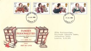 (22504) Gb Philart Fdc Famous Wwoen Authors - London W1 - 9 July 1980 photo