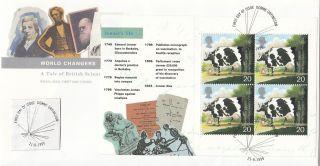 (18668) Fdc Gb Jenner World Changers Full Booklet Pane - Downe 1999 21 September photo