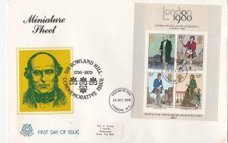(22511) Gb Peter Scot Fdc - Rowland Hill Minisheet 24 October 1979 photo