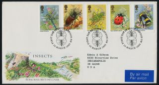 Great Britain 1098 - 1102 Fdc Insects,  Flowers - Royal Mail Cover photo