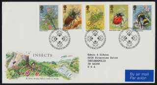 Great Britain 1098 - 1102 Fdc Insects,  Flowers - Lady Bug Cancel,  Royal Mail Cover photo