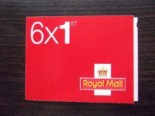 Mb12 / Sb5 (24) Cyl W6 W1 (w2) 2013 Royal Mail Red ' Msil ' 6 X 1st Class Booklet photo