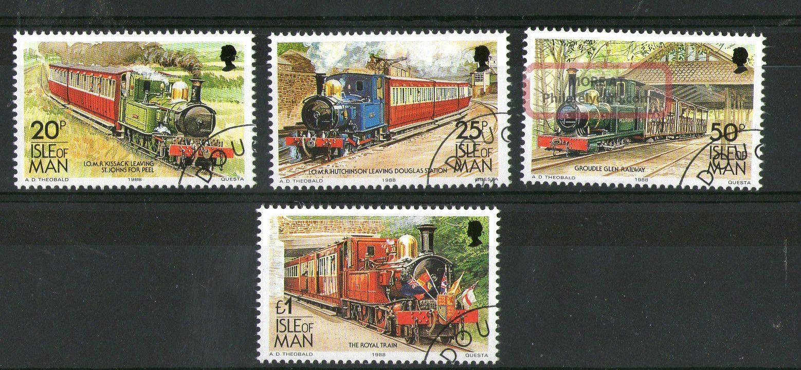 Isle Of Man 1988 High Value Definitives Steam Locomotives Commemoratives Vfu Transportation photo