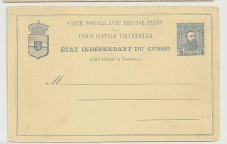 Etat Independant Congo - 15 Cent.  Post.  Stat.  - Response Payee photo