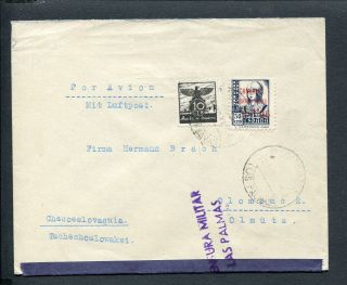 Spain Canary Isl,  Civil War 1937 Censor Cover Puerto D.  L.  Luz To Czechoslovakia photo