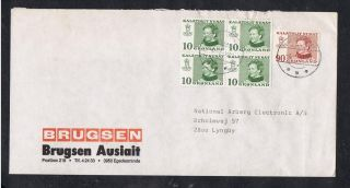 Greenland.  Cover From 1973.  Queen Margrethe.  Four - Block 10 øre Green + 90 øre. . photo