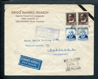 Spain Canary Islands,  Civil War 1937 Airmail Cover Las Palmas To Hamburg photo