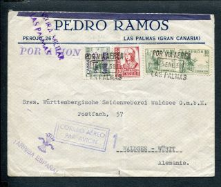 Spain Canary Islands,  Civil War 1938 Censor Airmail Cover Las Palmas To Germany photo