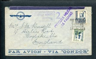 Spain Canary Islands,  Civil War 1938 Censor Cover Las Palmas To Uk
