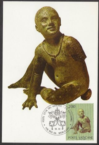 Vatican City 1983 Maxicard - Papacy & Art Usa Exhibition Statue Child Etruscan photo