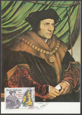 Vatican City Maxicard 1985 - Saint Thomas More (after Holbein) photo