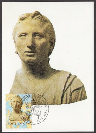 Vatican City 1983 Maxicard - Papacy & Art Usa Exhibition Terracotta Female Bust photo