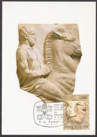 Vatican City 1983 Maxicard - Papacy & Art Exhibition Greek Relief Of Horseman photo