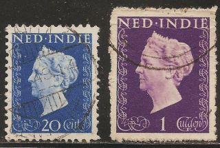 1948 Netherlands Indies: Scott 282 & 288 (2) Queen Wilhelmina (20c & 1g) photo