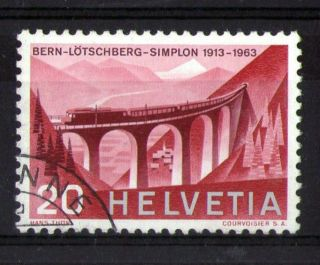 Switzerland 1963 Steam Locomotives Commemorative Stamp Vfu photo