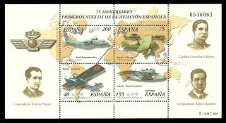 Spain 2001 Aircraft Aviators Aviation M/sheet photo