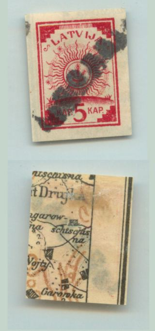 Latvia,  1918,  Sc 1, ,  Map,  Leepaja,  Precancel.  D9306 photo