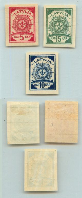 Latvia,  1919,  Sc 3 - 5, ,  Imperf,  Ruled Lines.  D9307 photo