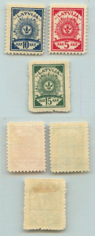 Latvia,  1919,  Sc 6 - 8, ,  Ruled Lines.  D9308 photo