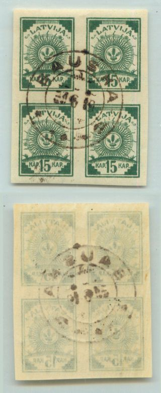 Latvia,  1919,  Sc 28, ,  Wmk 109,  Block Of 4.  D9314 photo
