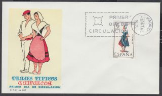 1968 Guipuzcoa - Spain Regional Costume Fdc; First Day Cover photo