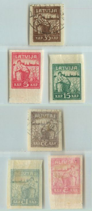 Latvia,  1919,  Sc 49 - 51,  And,  Pelure Paper.  D9317 photo