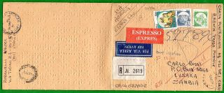 Italy - Cover R.  E.  Written In Braille With 50+50+600 Lire Castles Per Zambia photo