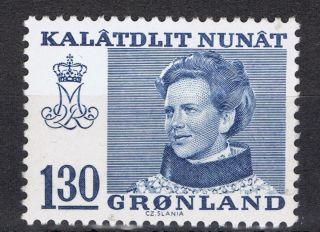Greenland.  1977.  Queen Margrethe.  130 øre.  Blue. . photo