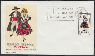 1967 Avila - Spain Regional Costume Fdc; First Day Cover photo