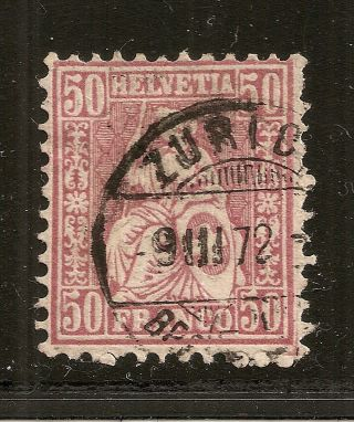 Switzerland - 1867 - 78 Seated Helvetia 50ct Violet (sc 59 / Zu 43) Cv $77.  50 photo