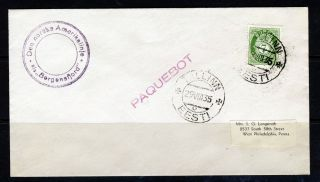 Estonia 1935 Red Paquebot Cachet Tallin To Philadelphia With Norwegian Stamp photo