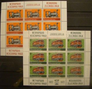 Yugoslavia 1972 50th Anniversary Of International Railway Union Minisheets photo