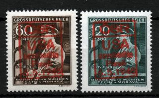 Czechoslovakia 1945 Liberation Local Issues Plzen Usa Type V Red Overprint photo