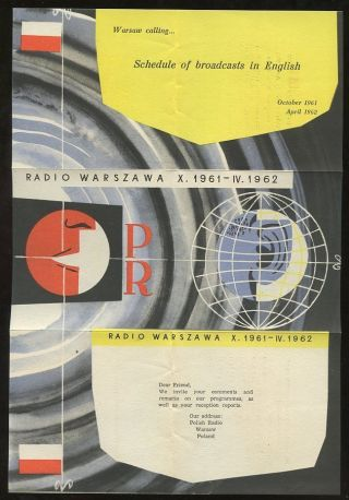 Poland 1961 Cover To Gb. . .  Postage Paid Boxed. . .  Warsaw Radio Broadcasts Leaflet photo