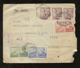 Spain 1947 Airmail Autogiro 4 Colour Franking To Sweden Registered Valencia photo