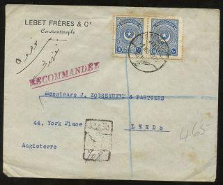 Turkey 1926 Regist.  Cover Lebet Freres To Leeds Yorkshire photo