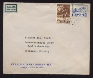 Iceland 1952 2kr 50 Air Cover To Germany. . .  Ellingsen photo