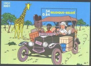 Belgium Tintin In Congo - Ford Model T Car - Sheet - Giraffe - Bd - Bande Dessinée - Comic photo