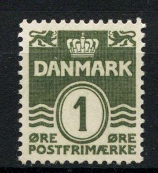 Denmark 1933 - 04 Sg 265,  1ore Blackish Green Definitive A61275 photo