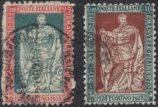 Tmm 1928 Italy Pictoral Issue S 202,  203 Vf Used/light Hinge/medium Cancel photo