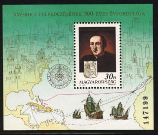 Hungary - 1991.  S/s - Early Explorers And Discovery Of America,  Columbus Bl217 photo