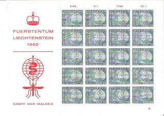 Liechtenstein 1962 Malaria Education Mini - Sheet (sc 371) photo